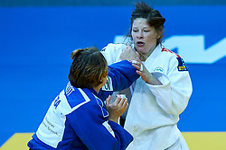 Warsaw, Poland - 2017 April 21: Tina Trstenjak from Slovenia (white) competes with Margaux Pinot from France (blue) in the women&iacute;s 63kg final during European Judo Championships 2017 at Torwar Hall on April 21, 2017 in Warsaw, Poland.<br /> <br /> Mandatory credit:<br /> Photo by &copy; Adam Nurkiewicz / Mediasport / Sportida<br /> <br /> Adam Nurkiewicz declares that he has no rights to the image of people at the photographs of his authorship.<br /> <br /> Picture also available in RAW (NEF) or TIFF format on special request.<br /> <br /> Any editorial, commercial or promotional use requires written permission from the author of image.