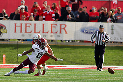 NORMAL, IL - October 13: Landon Lenoir dives for a ball he couldn't catch during a college football game between the ISU (Illinois State University) Redbirds and the Southern Illinois Salukis on October 13 2018 at Hancock Stadium in Normal, IL. (Photo by Alan Look)