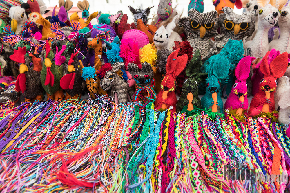 Handmade sheep's wool souvenirs for sale in Bucerias, Nayarit, Mexico.