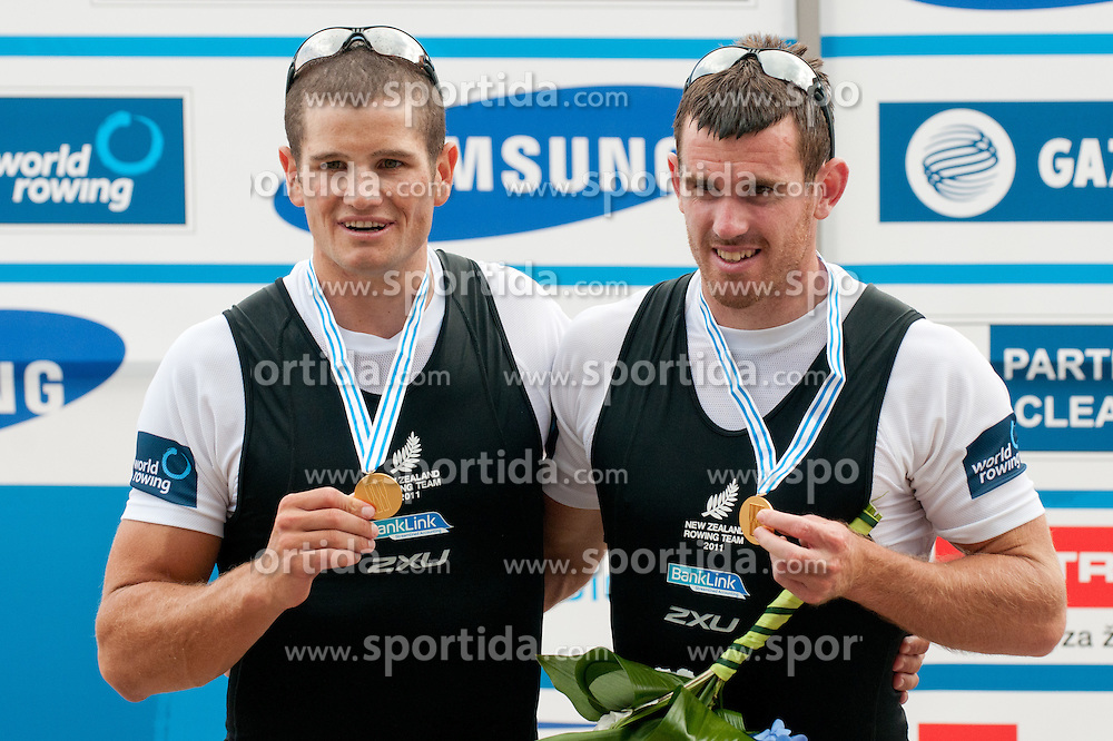 First place for Nathan Cohen (bow) and Joseph Sullivan (stroke) of New Zealand during Men's Double Sculls at Rowing World Championships Bled 2011 on September 2, 2011, in Bled, Slovenia. (Photo by Matic Klansek Velej / Sportida)