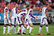 SYDNEY, NSW - FEBRUARY 24: Perth Glory celebrate their goal at round 20 of the Hyundai A-League Soccer between Western Sydney Wanderers FC and Perth Glory on February 24, 2019 at Spotless Stadium, NSW. (Photo by Speed Media/Icon Sportswire)