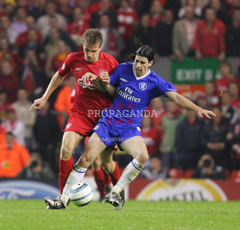 LIVERPOOL, ENGLAND. TUESDAY, MAY 3rd, 2005: Liverpool's Igor Biscan and Chelsea's Tiago during the UEFA Champions League Semi Final 2nd Leg at Anfield. (Pic by David Rawcliffe/Propaganda)
