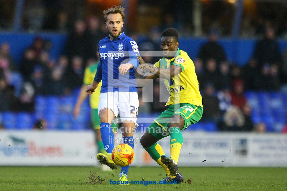 Andrew&nbsp;Shinnie of Birmingham and Alexander Tettey of Norwich in action during the Sky Bet Championship match at St Andrews, Birmingham<br /> Picture by Paul Chesterton/Focus Images Ltd +44 7904 640267<br /> 31/01/2015