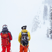 Andrew Whiteford (L) & Tanner Flanagan (R) scan the options before heading into a winter storm charged abyss.