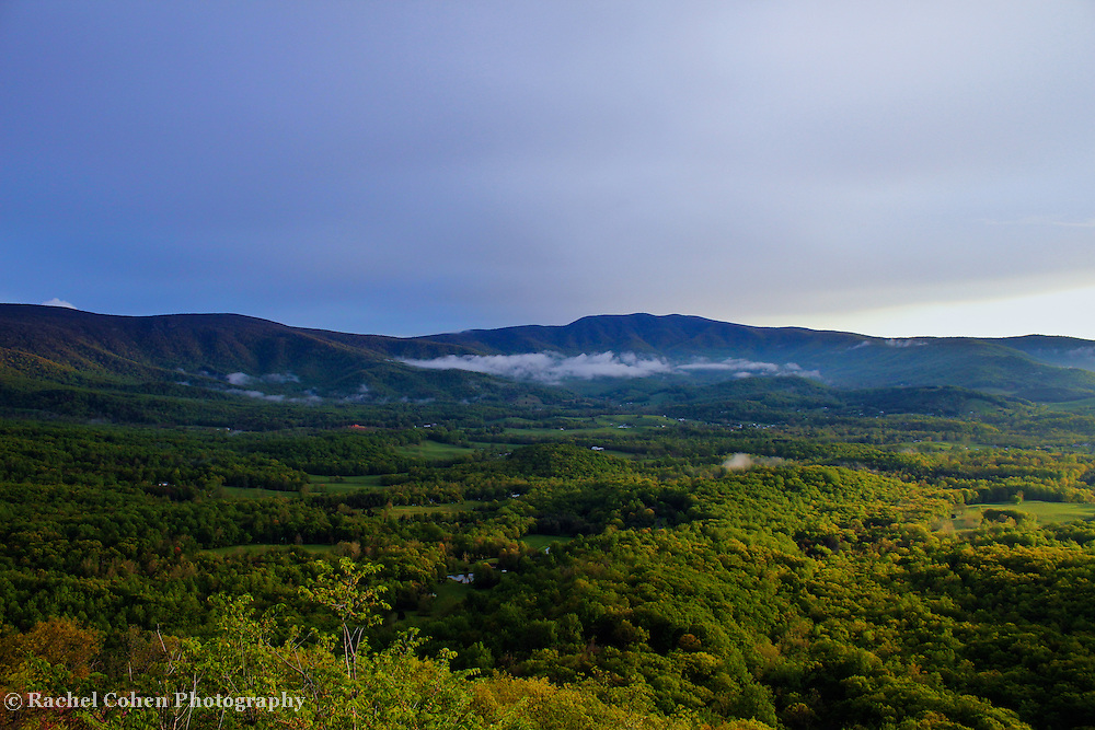&quot;Fading Light in the Shenandoah&quot;<br /> <br /> As day starts to come to an end. Light fades over the rolling mountains and valleys of Shenandoah National Park!!<br /> <br /> The Blue Ridge Mountains by Rachel Cohen