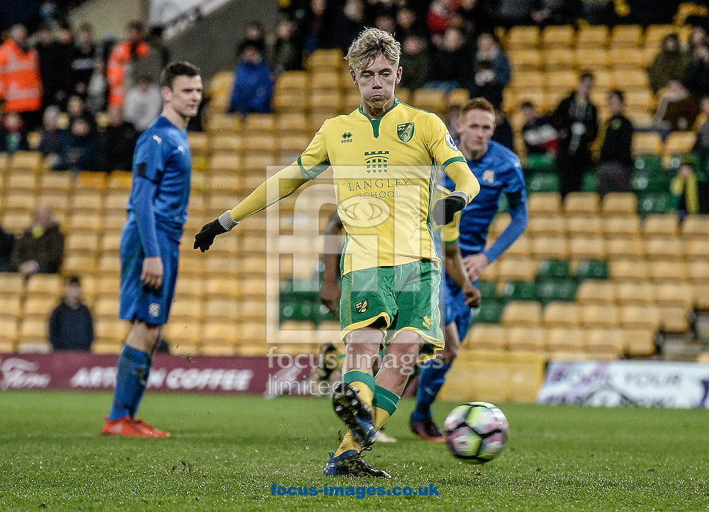 Todd Cantrell of Norwich City U23 scores the penalty versus Dinamo Zagreb U23 during the Premier League International Cup Quarter-Final match at Carrow Road, Norwich<br /> Picture by Matthew Usher/Focus Images Ltd +44 7902 242054<br /> 27/02/2017