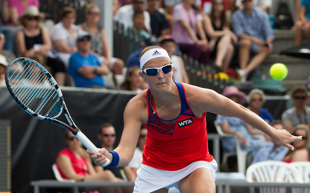 Belgium's Kirsten Flipkens plays Serbia's Ana Ivanovic in the semi finals of the singles at the ASB Classic Women's Tennis Tournament, ASB Tennis Arena, Auckland, New Zealand, Friday, January 03, 2014.  Credit:SNPA / David Rowland