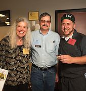 Alice Doyle, Log House Plants; Jim Myers, OSU; and Karl Holl, LetUmEat, at the Indigo Tomato table where Karl created a stuffed tomato tasting.