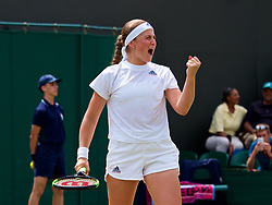 LONDON, ENGLAND - Monday, July 9, 2018: Jelena Ostapenko (LAT) celebrates her 7-6, 6-0 victory during the Ladies' Singles 4th Round match on day seven of the Wimbledon Lawn Tennis Championships at the All England Lawn Tennis and Croquet Club. (Pic by Kirsten Holst/Propaganda)