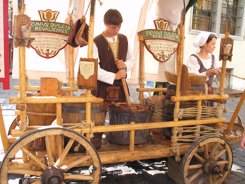 Street Food Vendors with Old Wooden Cart in Tallinn, Estonia
