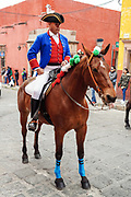 A historic actor rides a horse dressed in Spanish colonial uniform during a parade celebrating the 251st birthday of Mexican Independence hero Ignacio Allende January 21, 2020 in San Miguel de Allende, Guanajuato, Mexico. Allende, from a wealthy family in San Miguel played a major role in the independency war against Spain in 1810 and later honored by his home city by adding his name.
