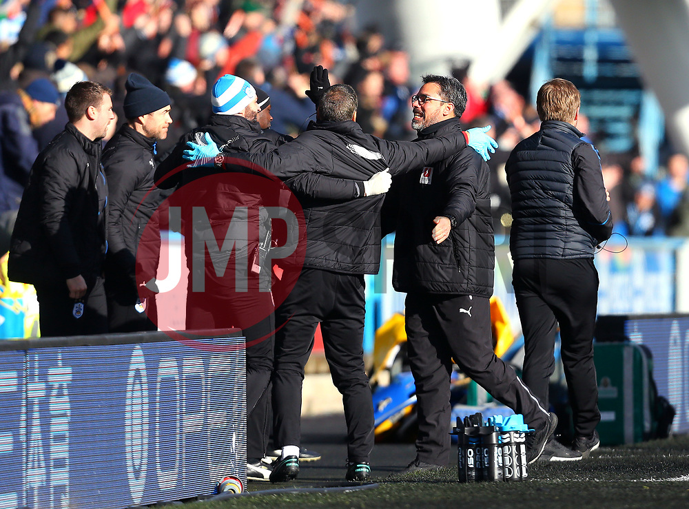 Huddersfield Town manager David Wagner celebrates Steve Mounie of Huddersfield Town scoring a goal to make it 2-1 - Mandatory by-line: Robbie Stephenson/JMP - 11/02/2018 - FOOTBALL - The John Smith's Stadium - Huddersfield, England - Huddersfield Town v Bournemouth - Premier League