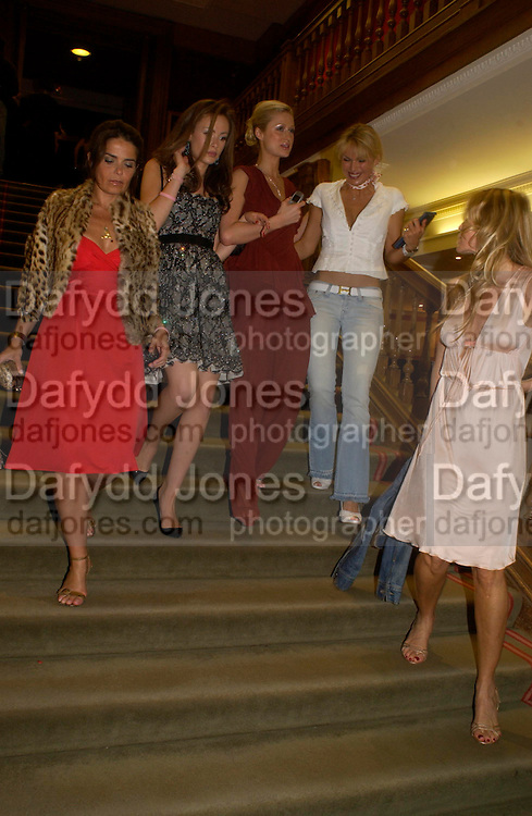 Camilla Al Fayad, Paris Hilton and Diana Jenkins. 4 Inches, A  Photographic Auction in aid of the Elton John Aids Foundation hosted by Tamara Mellon and Arnaud Bamberger. Christie's. 8 King St. London. 25 May 2005. ONE TIME USE ONLY - DO NOT ARCHIVE  © Copyright Photograph by Dafydd Jones 66 Stockwell Park Rd. London SW9 0DA Tel 020 7733 0108 www.dafjones.com