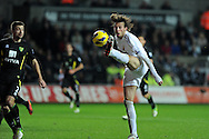 Swansea city's Michu controls the ball. Barclays Premier league, Swansea city v Norwich city at the Liberty Stadium in Swansea, South Wales on Saturday 8th Dec 2012. pic by Andrew Orchard, Andrew Orchard sports photography,