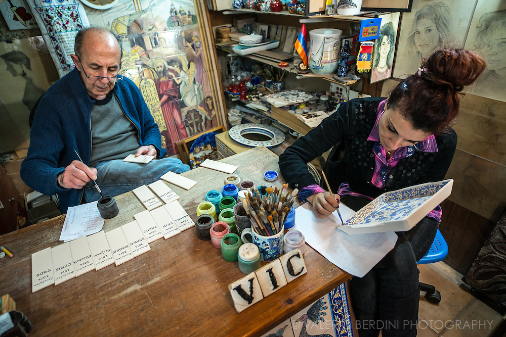 One of the few remaining workshop producing genuine Armenian craft. Armenian Quarter, Jerusalem Old City.