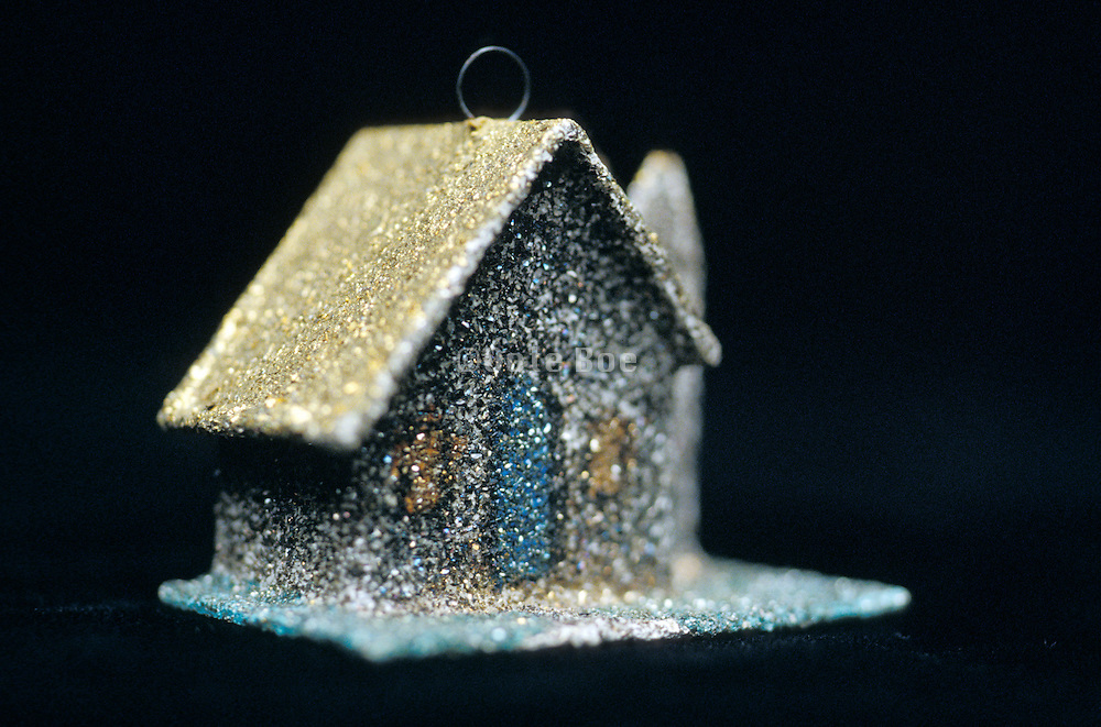 sparkly ornament in the shape of a house