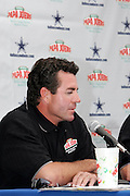"""Papa"" John Schnatter is the founder, chairman, and CEO of Papa Johns when the Dallas Cowboys and Papa John's pizza chain announce a new relationship during a post practice press conference at the Cowboys training camp in Oxnard, CA on 08/03/2004. ©Paul Anthony Spinelli"