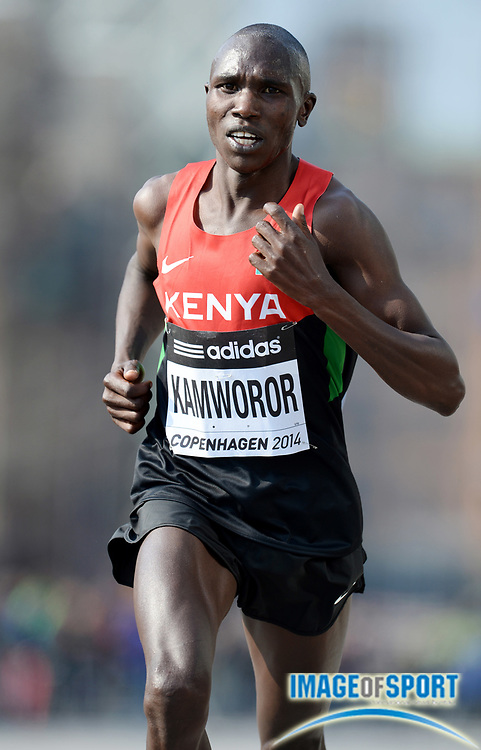 Mar 29, 2014; Copenhagen, Denmark; Geoffrey Kamworor (KEN) wins the mens race in 59:08 in the IAAF/AL-Bank World Half Marathon Championship. Photo by Jiro Mochizuki