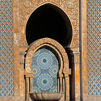 North Africa, Morocco, Casablanca. Hassan II Mosque fountain.