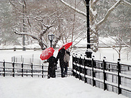 Couple under red umbrellas in the snow at The Mall in Central Park