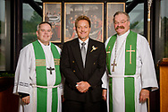 Group photograph (L-R) of the Rev. Lee Hagan, LCMS Missouri District president, the Rev. Dr. Gregory P. Seltz, executive director of the Lutheran Center for Religious Liberty, and the Rev. Dr. Matthew Harrison, LCMS president, at the International Center of The Lutheran Church–Missouri Synod on Tuesday, Aug. 22, 2017, in St. Louis. LCMS Communications/Erik M. Lunsford
