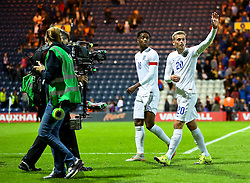 James Wilson of England U21 waves to the fans after the final whistle - Mandatory byline: Matt McNulty/JMP - 07966386802 - 03/09/2015 - FOOTBALL - Deepdale Stadium -Preston,England - England U21 v USA U23 - U21 International