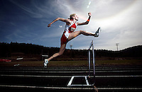 JEROME A. POLLOS/Press..Kootenai High senior Darcy Collins looks to conclude her prep career with a possible 15 state titles, while leading the Warriors to a state-record tying fifth consecutive girls team title. Collins has signed a letter of intent to compete at Idaho next season, where she plans to try the heptathlon.