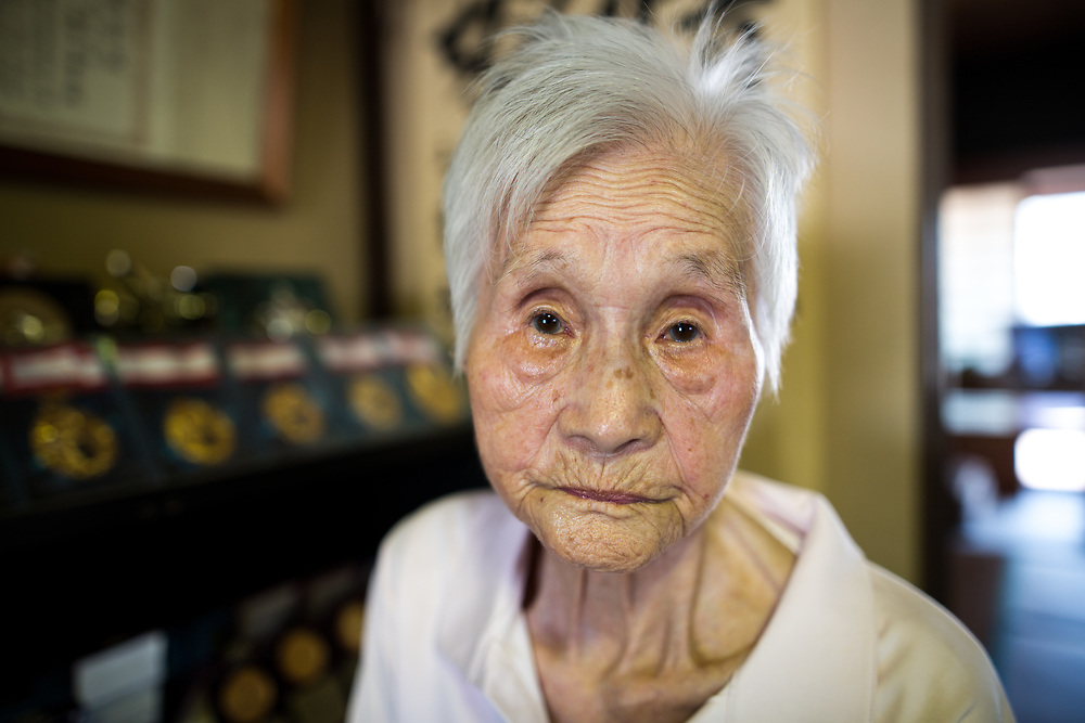 YAMAGUCHI, JAPAN - AUGUST 4: 103-year-old Mieko Nagaoka poses for a photo in her house in Yanai City, Yamaguchi prefecture, Japan on August 4, 2017. (Photo: Richard Atrero de Guzman/NUR Photo)