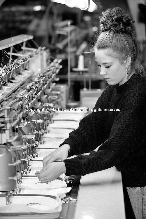 Lyn Barraclough, embroidery machine, SR. Gent. Barnsley 26/2/91.