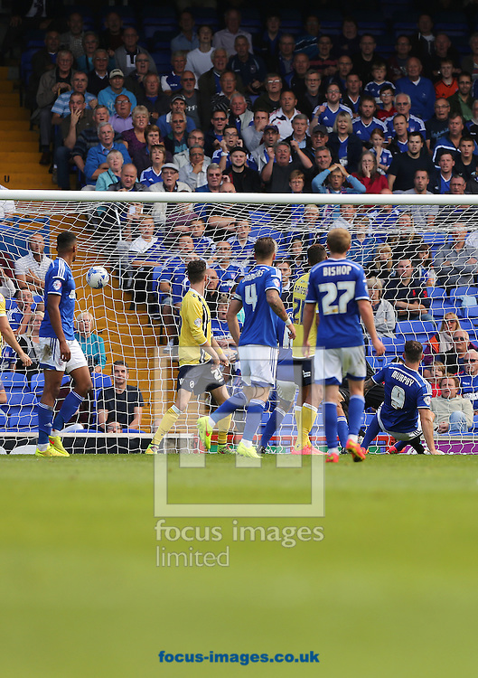 Daryl Murphy (right) of Ipswich Town scores the second goal of the Sky Bet Championship match to make it 2-0 against Millwall at Portman Road, Ipswich<br /> Picture by Richard Calver/Focus Images Ltd +447792 981244<br /> 13/09/2014