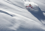 Deep powder skiing in the Bridger Teton National Forest, near Jackson, Wyoming.  (photo by David Stubbs / davidstubbs.com)