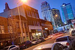 Traffic and downtown skyline from Grand Avenue, Kansas City, Missouri.