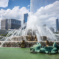 HDR picture of Buckingham Fountain and Chicago Skyline. Clarence F. Buckingham Memorial Fountain is located in Grant Park and is one of Chicago's most popular and well known attractions. Photo was taken in 2012 and is high resolution. Image has a very subtle High Dynamic Range (HRD) treatment.