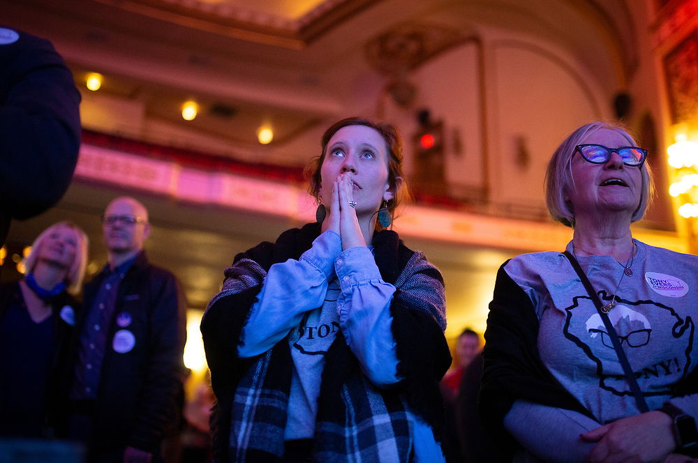 Bethanee Rageth looks on nervously during the Tony Evers Election Night watch party at the Orpheum Theater in Madison, Wisconsin, Wednesday, Nov. 7, 2018.