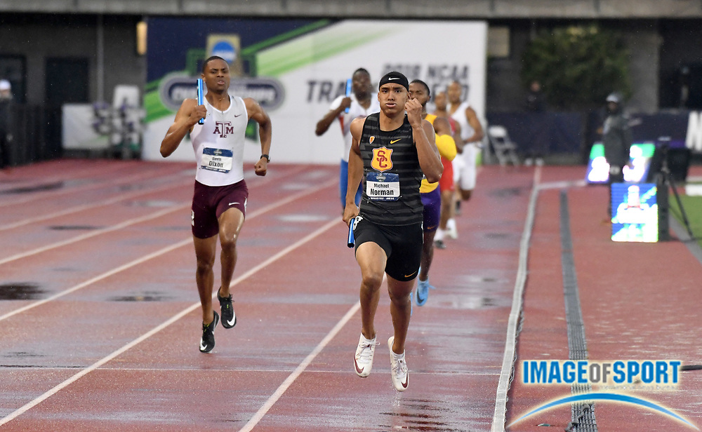 Jun 8, 2018; Eugene, OR, USA; Michael Norman runs the anchor leg on the Southern California Trojans 4 x 400m relay that won in a collegiate record 2:59.00 during the NCAA Track and Field championships at Hayward Field.