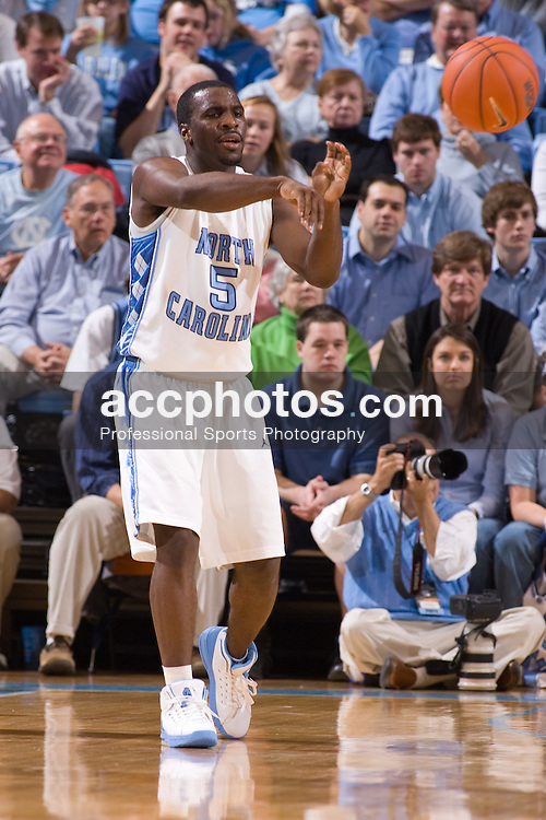 22 December 2007: North Carolina Tar Heels guard Ty Lawson (5) during a 105-70 win over the University of California Santa Barbara Gauchos at the Dean Smith Center in Chapel Hill, NC.