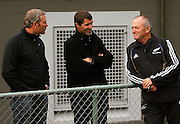 Phoenix coach Ricki Herbert and Irish soccer legend and coach of UK Premiership side Sunderland, Roy Keane, talk with All Black coach Graham Henry.<br /> All Blacks Training Session at Rugby League Park, Newtown, Wellington. Tuesday 3 June 2008. Photo: Dave Lintott/PHOTOSPORT