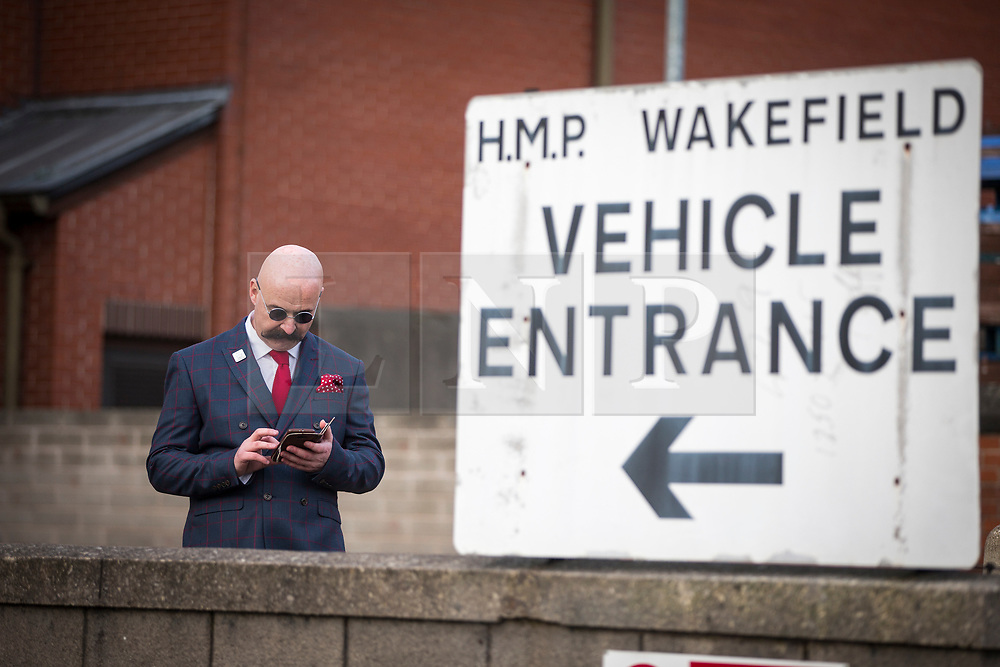 © Licensed to London News Pictures. 14/11/2017. Wakefield UK. Charles Bronson impersonator at the wedding of Ex Coronation Street actress Paula Williamson & Britains most violent prisoner Charles Bronson at Wakefield prison. Photo credit: Andrew McCaren/LNP