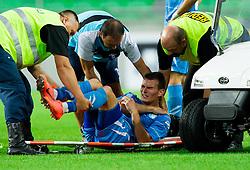 Dino Martinovic of Gorica injured during football match between NK Olimpija Ljubljana and NK Gorica in 3rd Round of Prva liga NZS 2012/13, on July 29, 2012 in SRC Stozice, Ljubljana, Slovenia. Gorica defeated Olimpija 3-1. (Photo by Vid Ponikvar / Sportida.com)