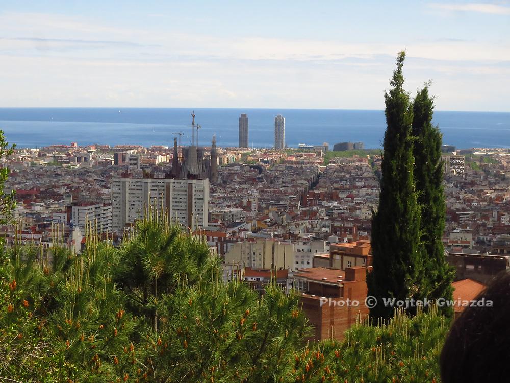 View of Barcelona, La Sagrada Familia, from Parc Güell