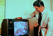 A 29 MG FILE FROM FILM OF:.Candidate Ronald Reagan watches the Republican Convention in 1976 Photo by Dennis  Brack