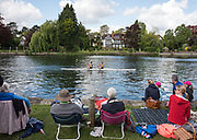 Maidenhead. Berkshire. United Kingdom. General view, spectators watch the racing at the 2017 Maidenhead Junior Regatta  River Thames. <br /> <br /> [&copy;Peter SPURRIER/Intersport Images] Sunday. 14.05.2017