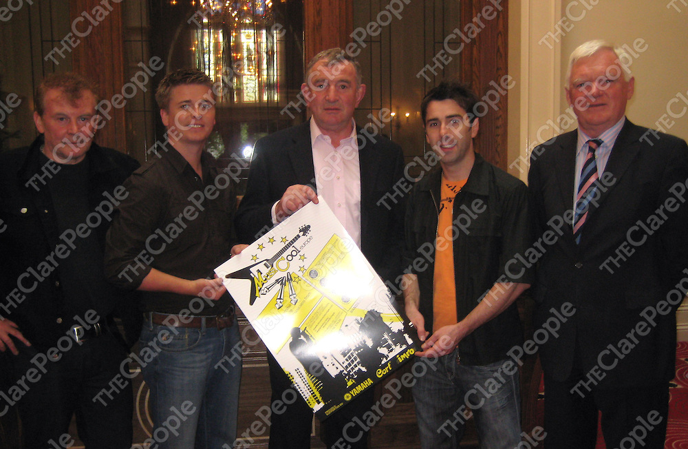 Francie Conway, Brian Ormond, Clare hurling manager Mike McNamara, Mickey Harte, John Madden at the launch of Musicool Europe in the Templegate Hotel.