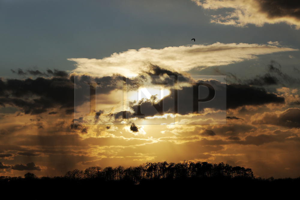 © Under licence to London News Pictures. 26/04/2016. A late afternoon shower breaks over Croft in rural North Yorkshire as the unseasonably cold weather looks set to continue. Photo Credit: Stuart Boulton/LNP