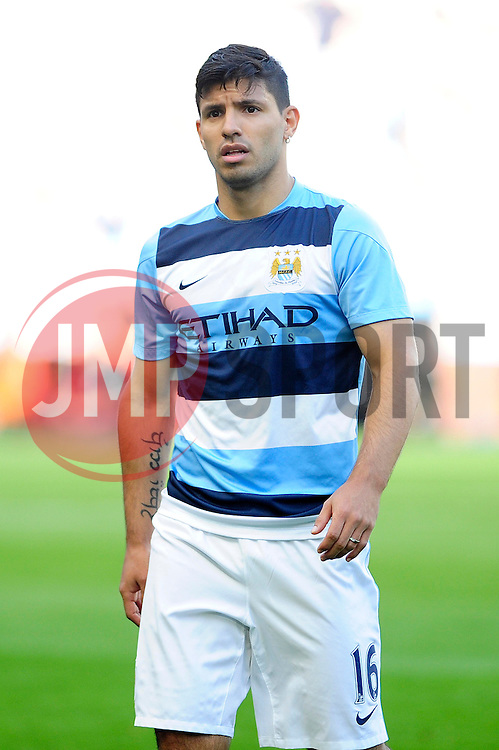 Manchester City's Sergio Aguero - Photo mandatory by-line: Dougie Allward/JMP - Tel: Mobile: 07966 386802 22/09/2013 - SPORT - FOOTBALL - City of Manchester Stadium - Manchester - Manchester City V Manchester United - Barclays Premier League