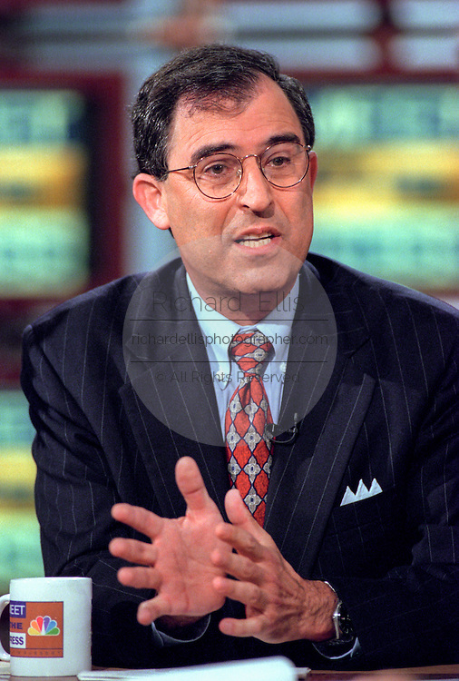 Former White House counsel Lanny Davis discusses recent events in the grand jury investigating the relationship between President Bill Clinton and former White House intern Monica Lewinsky during NBC's Meet the Press August 2, 1998 in Washington, DC.