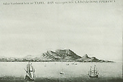 Table Bay.  Reproduction of a picture in watercolours of 1655 or 1656.  As far as known, this is the oldest picture of the Dutch settlement.