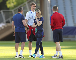 Sport psychologist Rebecca Symes during the team walkaround at the Kolporter Arena in Kielce, Poland. PRESS ASSOCIATION Photo. Picture date: Thursday June 15, 2017. See PA story SOCCER England U21. Photo credit should read: Nick Potts/PA Wire. RESTRICTIONS: Use subject to FA restrictions. Editorial use only. Commercial use only with prior written consent of the FA. No editing except cropping.