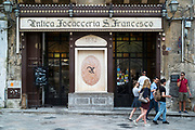 Famous 19th Century restaurant cafe L'Antica Focaccia San Francesco serving traditional Sicilian cuisine in Palermo, Sicily, Italy