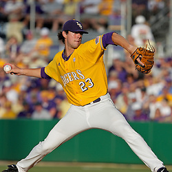 05 June 2009:  LSU pitcher Anthony Ranaudo (23) throws during game one of the NCAA baseball College World Series, Super Regional game between the Rice Owls and the LSU Tigers at Alex Box Stadium in Baton Rouge, Louisiana.